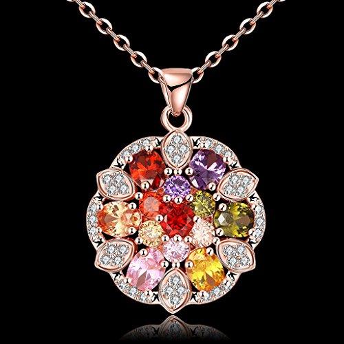 Jiayiqi Femmes Rose Or Plaqué Zircon Coloré Incrusté Pandent Collier Boîte Chaînecollier Fleur