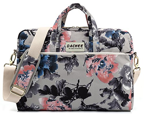 DACHEE Grey Rose Pattern 15 inch Waterproof Laptop Shoulder Messenger Bag for 14 Inch to15.6 inch Laptop and MacBook Pro 15 Laptop Case