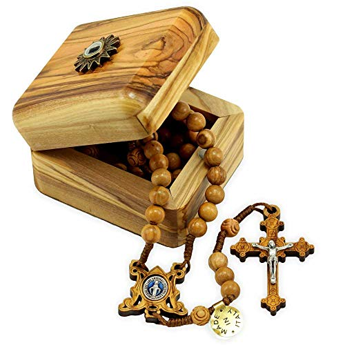 Olive Wood Rosary with Relic Wooden Box -