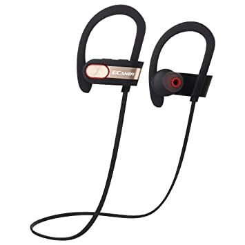 Auriculares Bluetooth, Ecandy Wireless Bluetooth Auricular Sport Sweatproof In-Ear Headset con micrófono Reducción de ruido y bolsita para iPhone, iPad, ...