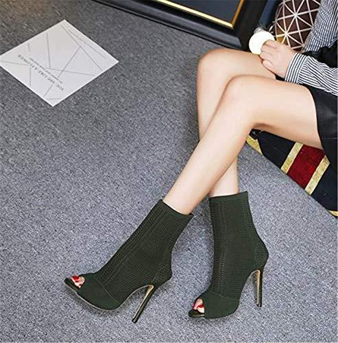 Boots Fanessy Au Escarpins Femme Élégant Chaussure Taille Talon Rose Soirée Grande Haut Cheville Aiguille Vert Botte Sortie Noir À Mode Zr0ZEwq