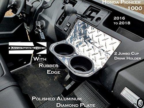 J & O Carts Parts Jumbo 2 Cup Drink Holder fits Honda Pioneer 1000, Diamond Plate with Rubber Edge (Diamond Plate Dash)
