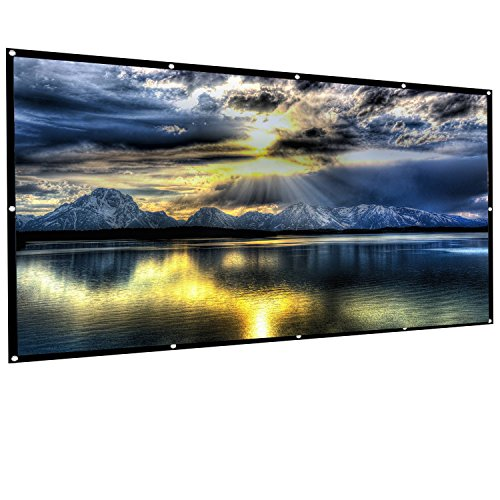 RELEE 120 inch Projector Screen 16:9 HD Foldable Anti-Crease Outdoor Indoor Portable Projection Movies Screen for Home Theater Support Double Sided Projection (120inch)