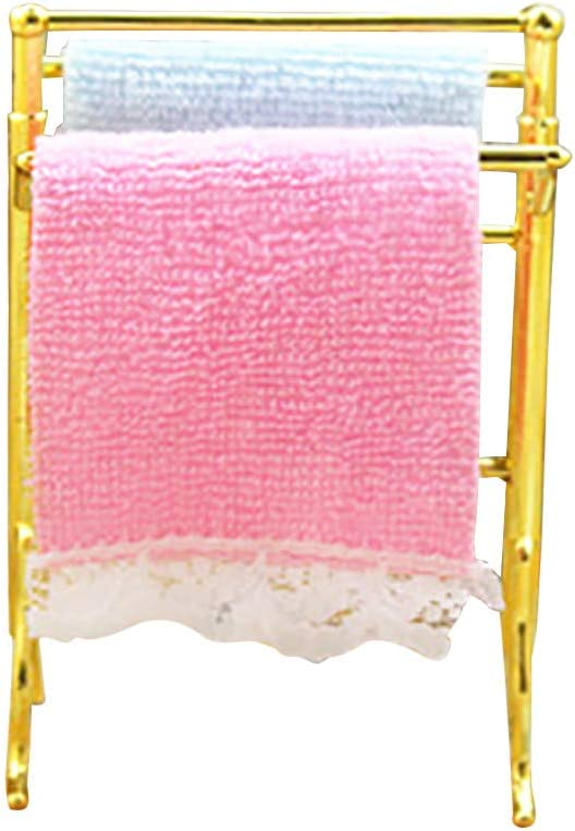 Shisay Dollhouse Furniture and Accessories Mini Towel and Alloy Rack for 1:12 & 1:6 Miniature Dollhouse Bathroom Scene Crafts Model Mini Pretend Play Toy (As Show)