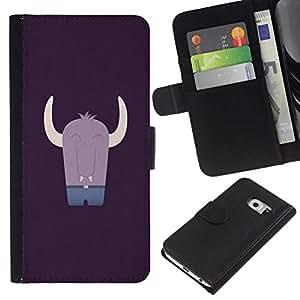 All Phone Most Case / Oferta Especial Cáscara Funda de cuero Monedero Cubierta de proteccion Caso / Wallet Case for Samsung Galaxy S6 EDGE // CUTE MONSTER