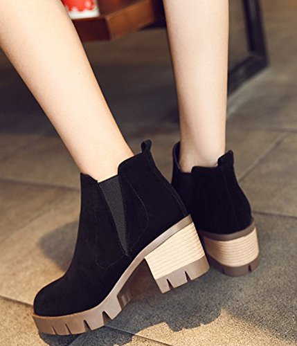 Retro Platform Slip Mid IDIFU Heels Chunky Ankle Faux Womens Suede On Booties Black Short FHqWExw5