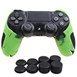 Cheap YoRHa Silicone Half extra Thick Cover Skin Case for Sony PS4/slim/Pro controller x 1(camouflage green) With Pro thumb grips x 8