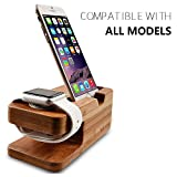Wooden Apple Watch iPhone Bamboo Stand Charging Cradle Holder Nightstand Station 2 in 1 Dual Charger Dock Fit iPhone 7/7Plus, 6/6 Plus, 5/5S/5C, iWatch 42mm & 38mm Original BASIC / SPORT / EDITION