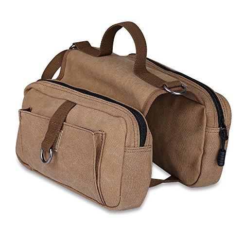 Dog Backpack - Ivencase Cotton Canvas Dog Pack Hound Travel Camping Hiking Harness Backpack Saddle Bag for Medium & Large Dog (Khaki) (Crates Saddle)
