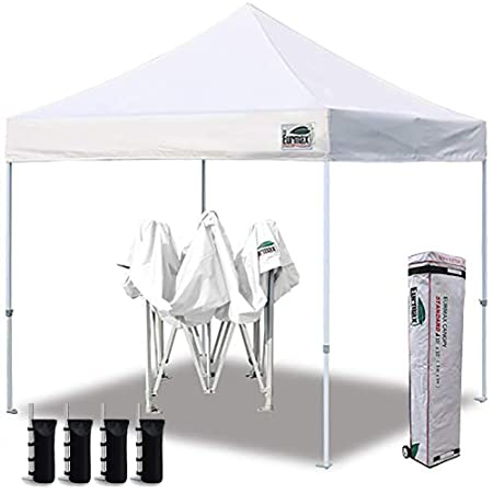 Eurmax 10 x10 Ez Pop Up Canopy Tent Commercial Canopies with Heavy Duty Roller Bag,Bonus 4 Canopy Sand Bags White