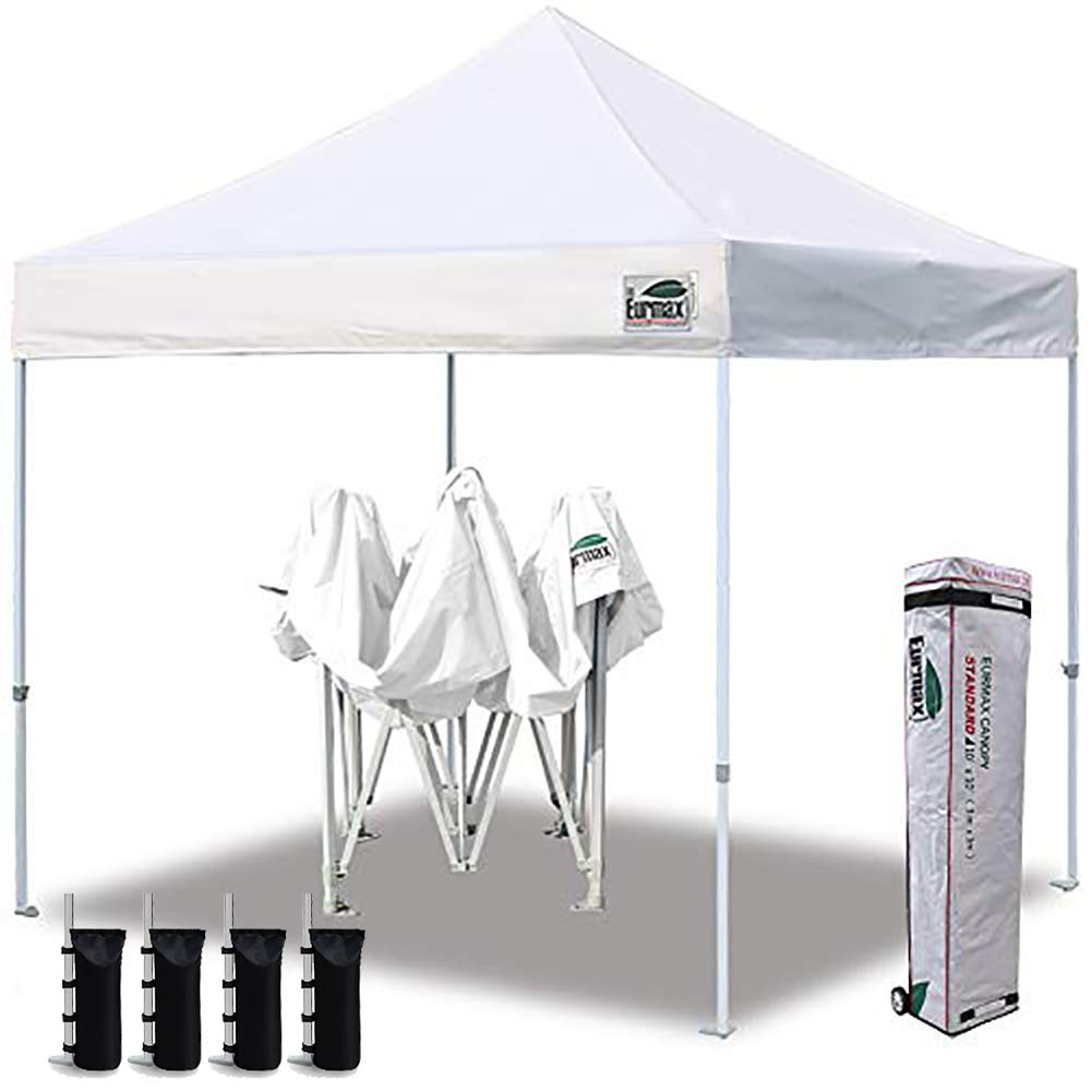 Eurmax 10'x10' Ez Pop Up Canopy Tent Commercial Canopies with Heavy Duty Roller Bag,Bonus 4 Canopy Sand Bags(Pure White) by Eurmax (Image #1)
