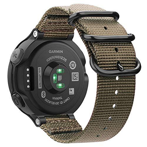 Fintie for Garmin Forerunner 235 Watch Band, Soft Nylon Sport Straps Replacement Watch Bands for Garmin Forerunner 235/220/230/620/630/735XT, Desert Tan