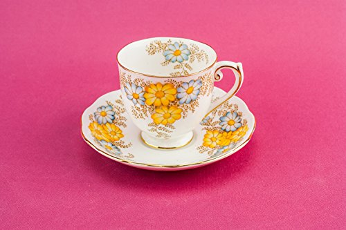 Bone China Vintage Saucer Cup TEACUP Roslyn Unique Mid-Century Modern Medium Floral Yellow Mid 20th Century English LS