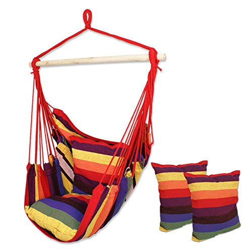 HPD Cotton Striped Hanging Hammock Rope Chair Porch Swing Seat Camping Patio (Rainbow)