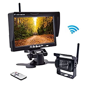 "Wireless Backup Camera RC 12V-24V Rear View and Monitor Kit Waterproof Parking Assistance System For Car/ Truck / Van / Caravan / Trailers / Camper with 7""HD LCD Night Vision cam"