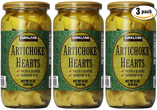 Kirkland Signature Artichoke Hearts, 33oz Jar (Pack of 3, Total of 99 Oz) ()