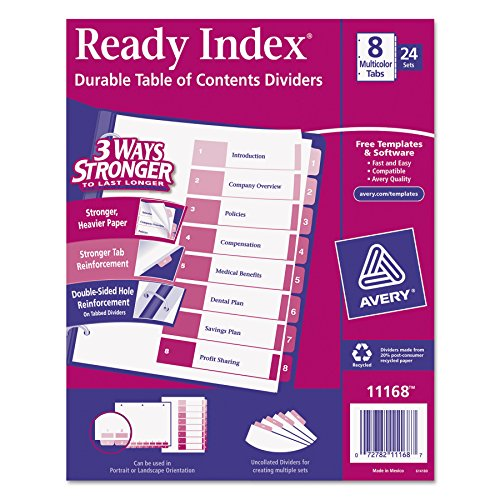 Avery Ready Index Table of Contents Dividers, 8-Tab Set, 24 Sets (11168)