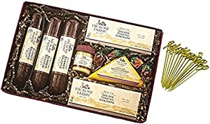 Hickory Farms Farm House Collection Gift Set 23.05 oz includes Summer Sausage | Smooth & Sharp | Sweet Hot Mustard | Golden Toasted Crackers | Strawberry Bon Bons with Exclusive Bamboo Toothpicks