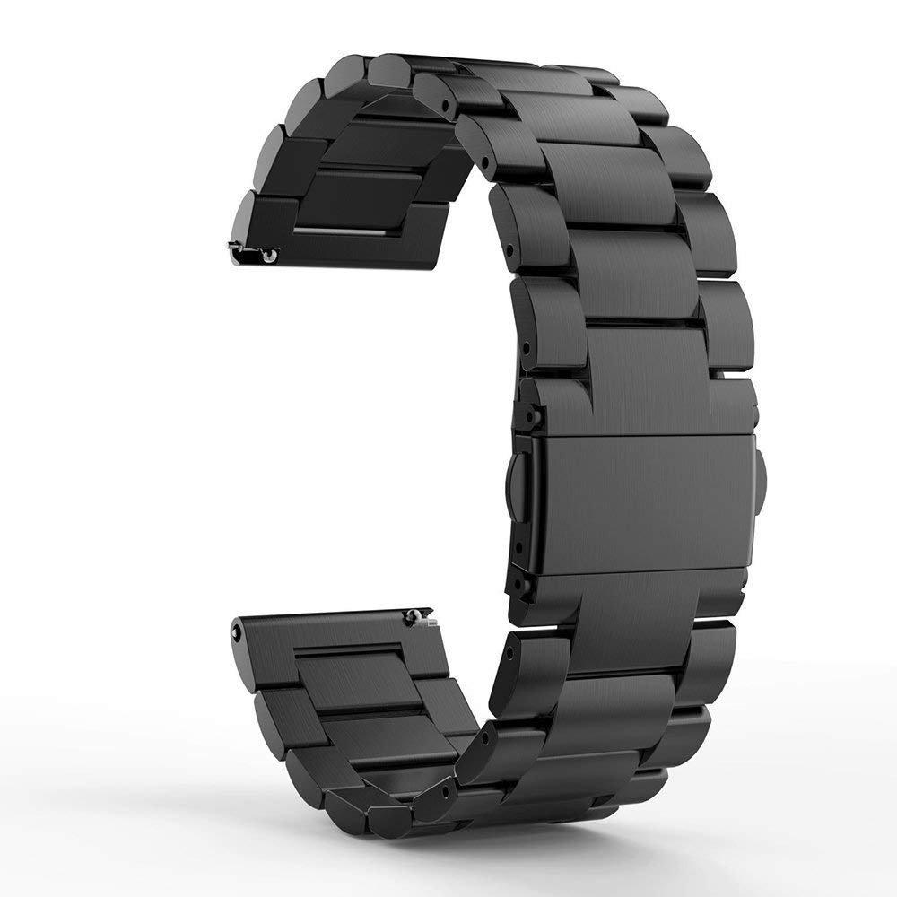 Ceston Metalica Acero Clásico Correas para Smartwatch TicWatch Pro (Negro)