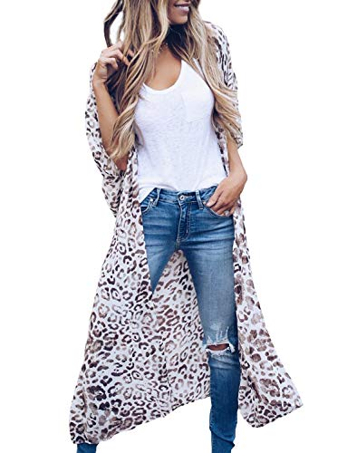 MayBuy Womens Long Kimono Cardigan with Belts Boho Style Chiffon Flowy Beach Cover Ups S-3XL