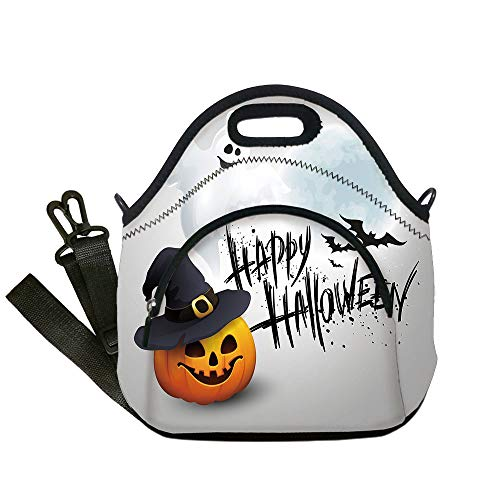 Insulated Lunch Bag,Neoprene Lunch Tote Bags,Halloween,Happy Celebration Typography Stained Look Cute Ghost Pumpkin Hat Print Decorative,White Black Orange,for Adults and children -