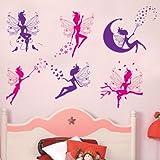 6 fées roses et pourpres sticker mural