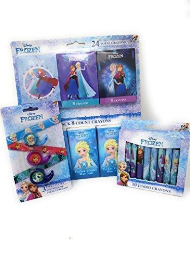 Back to School Toddler Pre-school Elementary School Supplies Pencil Pouch Crayons Tissue Tape Disney Princess Elsa Frozen (4 Piece set) (Tissue Crayons)