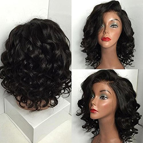 Amazon.com: Huphoon Premium Female Black Brazilian Short Wavy Curly High Temperature Fiber Magic Wig Hair: Beauty