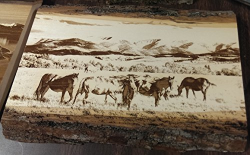 Wild Horses Etched Natural Wood Wall Plaque - Horse Wall Plaque