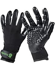 #1 Ranked, Award Winning Handson Gloves for Shedding, Bathing, Grooming, De-Shedding Horses/Dogs/Cats/Livestock/Small Pets - Black Small