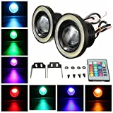 HITSAN Wireless Control 3.5inch LED RGB Color Fog Lights White Angel Eye Rings Car Lights One Piece