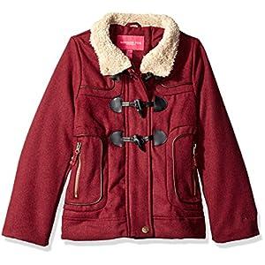 London Fog Big Girls' Toggle Wool Coat With Faux Fur Hood, Burgundy, 7/8