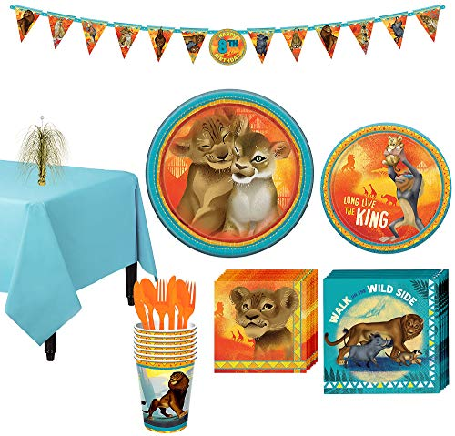 Party City Lion King Tableware Party Supplies for 8 Guests, 83 Pieces, Includes Plates, Napkins, Utensils, Banner -
