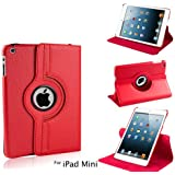 iPad Mini 360 Degree Rotating PU Leather Case Cover Stand - Red