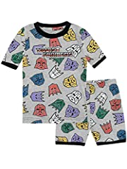 Boys Transformers pajamas. Your young Autobot will be ready to Roll Out with this awesome pajama set featuring a matching all over print of silhouettes of the faces of the Decepticons and Autobots on a short sleeve top and elasticated shorts....
