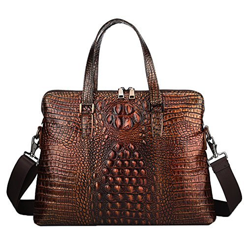 Genda 2Archer Crocodile Embossed Tote Briefcase Crossbody Shoulder Laptop Bag (Brown)