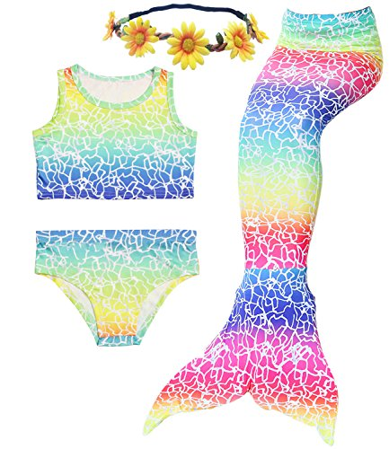 3PCS Girls' Swimsuit Mermaid Tail for Swimming Tropical Bikini Halloween Masquerade Pool Party (Child L/7-8, Rainbow Crack) -