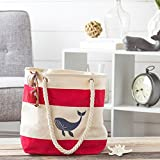 Cathys Concepts WHA-2177R Whale Red Striped Canvas Tote with Rope Handles