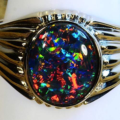 Mans Solid 14k white gold Australian opal ring (15055) ()