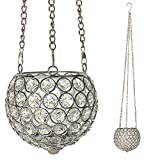 VINCIGANT Clear Glass Moroccan Style Hanging Candle Lantern for Patio Indoor Outdoor Event Parties Wedding Decoration, LED Copper Wire String Lights Included