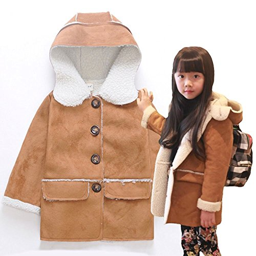 Kids Girls Chamois Fur Fleece Winter Long Jackets Hooded Coat Outerwear (6-7, Brown)