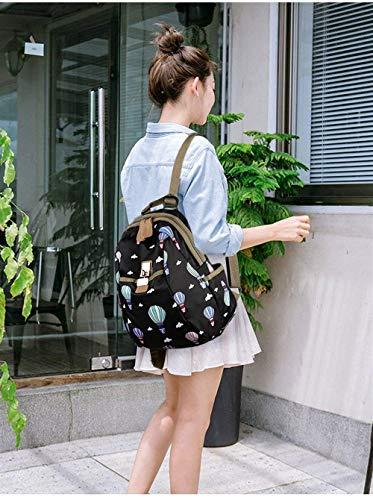 D Gran Impresa Nylon Bolsa Mujeres Para Capacidad De B Mochila Viaje Hombro Tamaño Estudiantes Impermeable Eeayyygch Bolso color Sq18ZIv