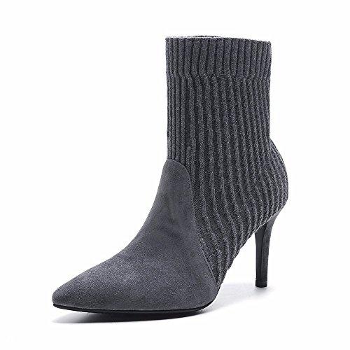 HXVU56546 Hochhackige Kurze Stiefel Neue Winter- und High Heels Ledermode Spitzer Gummifuss Damenschuhe Gray