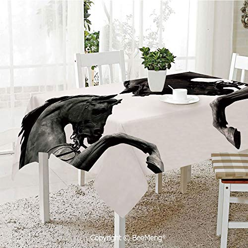 BeeMeng Spring and Easter Dinner Tablecloth,Kitchen Table Decoration,Sculptures Decor,Twin Contrast Horse Heads Statue Image Vintage Style Abstract Art Antigue War Theme Print,Bronze,59 x 83 inches