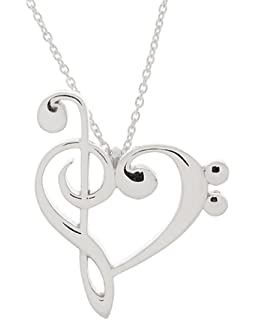 Amazon 925 sterling silver treble and bass clef heart scroll 925 sterling silver treble and bass clef heart pendant w 18 cable chain aloadofball Images