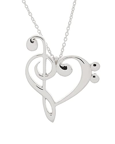 Amazon 925 sterling silver treble and bass clef heart pendant 925 sterling silver treble and bass clef heart pendant w 18quot cable chain aloadofball
