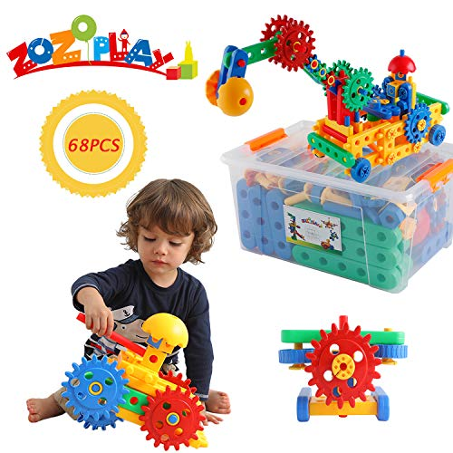 ZoZoplay STEM Learning Toys Educational Engineering Construction Building Blocks & Gears Set; Build Excavator, Horse & Buggy and More. Best Gift Toy for 4, 5, 6, 7 Year Old Boys and Girls (68 PCS)