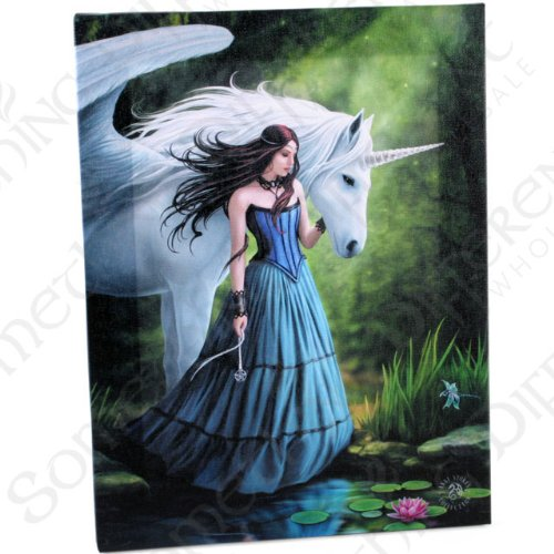 Fairy Canvas Princess - Enchanted Pool -gothic Portrait Of Fairy Princess With Unicorn By Pond / Lake -