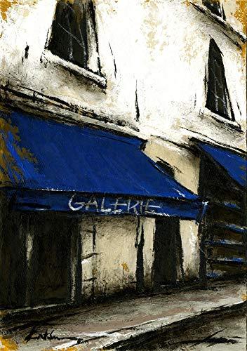 中野克彦 「青いひさしのあるギャラリー」 パリ 風景画 絵画 油彩画 額付き