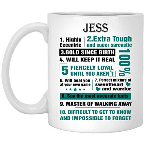 Personalized Mug With Name For Men, Women JESS Highly Eccentric 10 Facts - Amazing gift ForHim, Her On Thanksgiving - White Ceramic 11 Oz